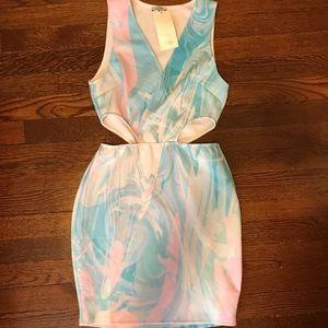 Tobi Dresses - TOBI Tie Dye Cut Out Bodycon Dress